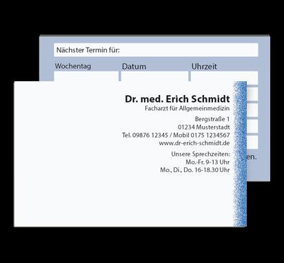 Terminkarte Blue Line, Scheckkartenformat