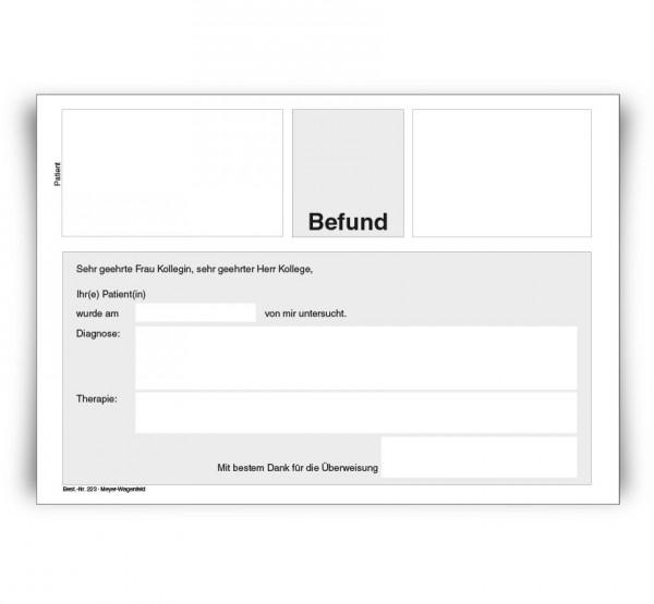 Befundbericht, DIN A5, ohne Eindruck