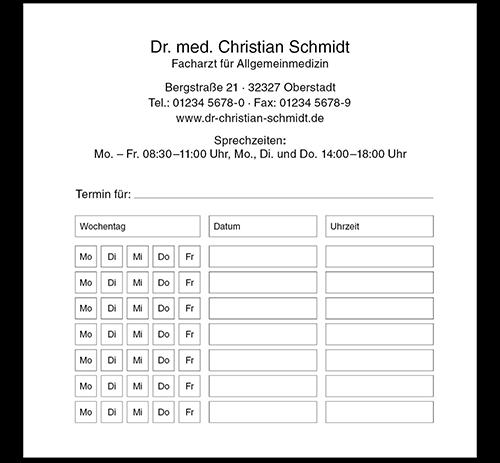 Terminzettel Basic, 10,5 x 10,5 cm, mit Eindruck, Durchschlag
