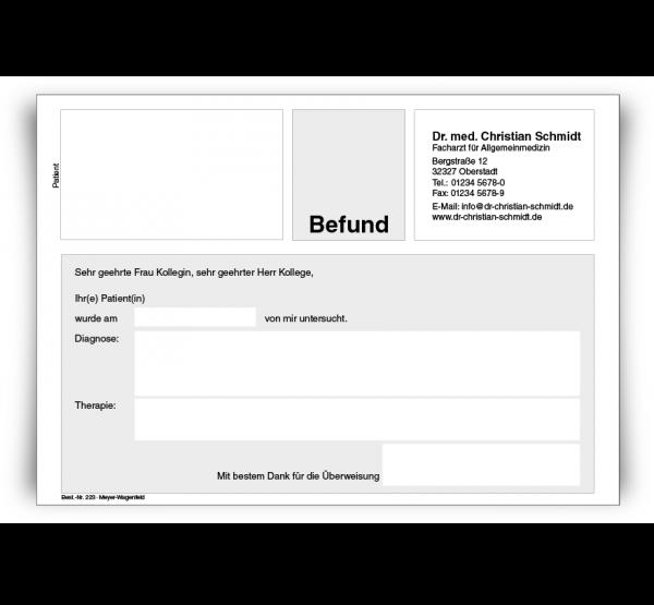 Befundbericht DIN A5, mit Eindruck