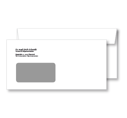 Briefumschlag, DIN lang, mit Fenster, mit Eindruck