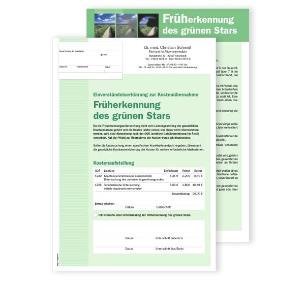 Patientenerklärung - Früherkennung des Grünen Stars, DIN A4, mit Eindruck