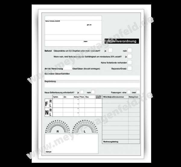 Brillenrezept / Brillenverordnung mit Adressfeld, DIN A5, ohne Eindruck