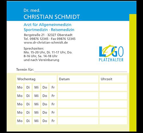 Terminzettel Berlin, 10,5 x 10,5 cm, mit Eindruck