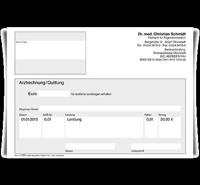 Arztrechnung / Quittung, DIN A5, mit Eindruck