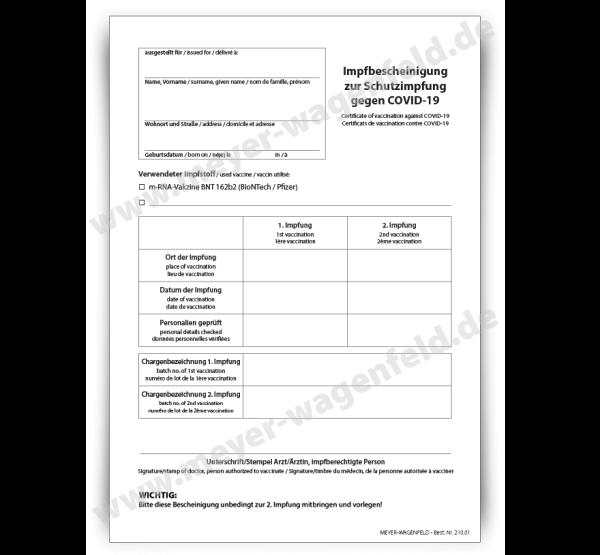 COVID 19 Impfzertifikat / Impfbescheinigung, DIN A5