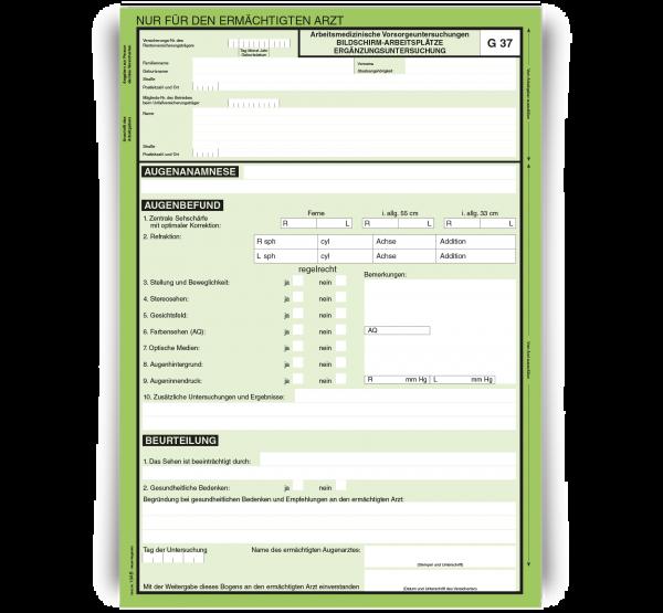 Arbeitsmedizinische Vorsorgeuntersuchung - Ergänzungsuntersuchung G37, DIN A4