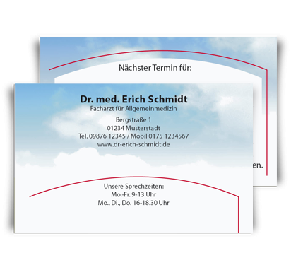 Terminkarte Cumulus, Scheckkartenformat