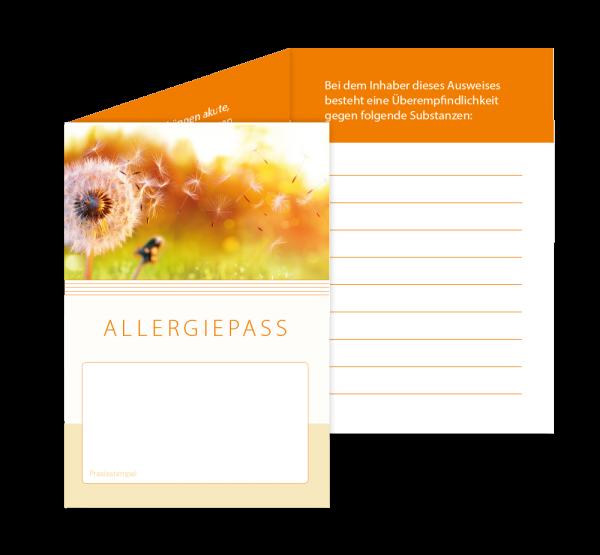 Allergiepass, 6-seitig, DIN A7, ohne Eindruck