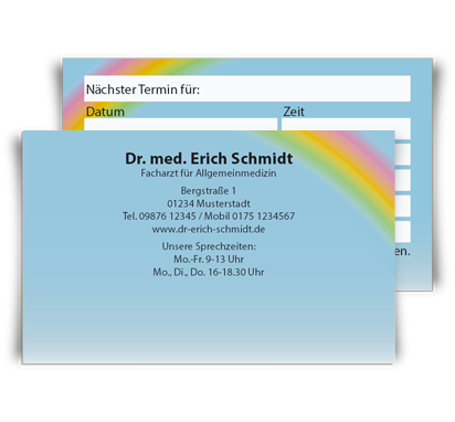 Terminkarte Rainbow, Scheckkartenformat