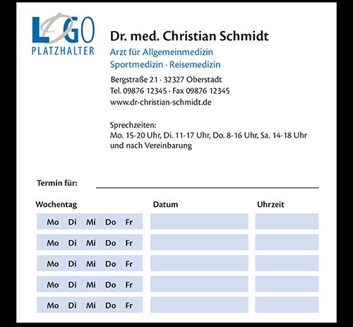 Terminzettel Amsterdam, 10,5 x 10,5 cm, mit Eindruck, Durchschlag