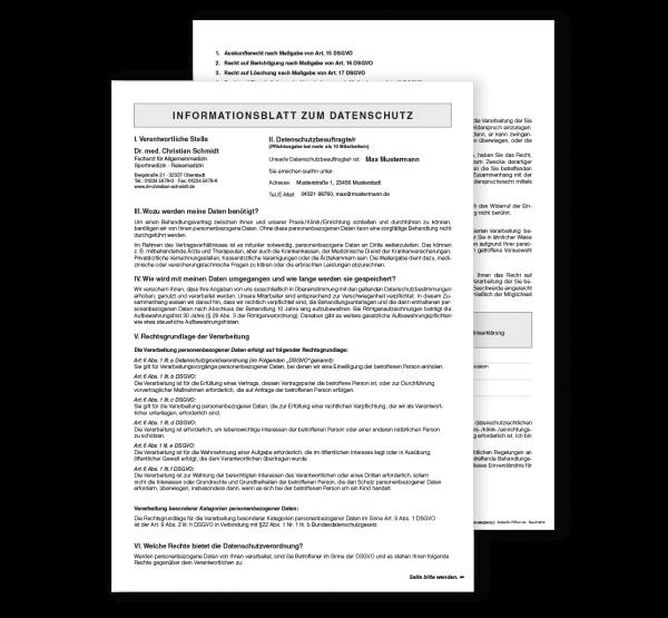 Datenschutzinformation inkl. Einverständniserklärung, mit Eindruck, DIN A4