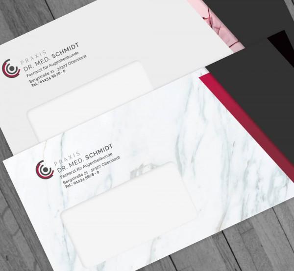 Ihr individueller Briefumschlag, DIN lang, mit Fenster, mit Eindruck