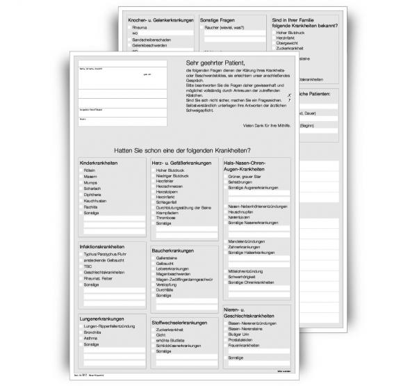 Anamnesebogen (Wartezimmer-Fragebogen), DIN A4