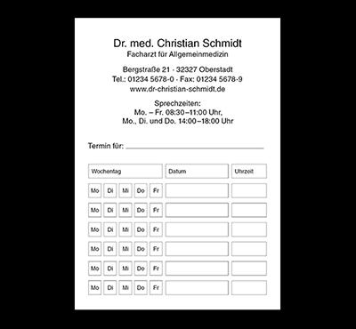 Terminzettel Basic, DIN A7, mit Eindruck, Durchschlag