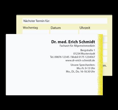 Terminkarte Yellow Line, Scheckkartenformat